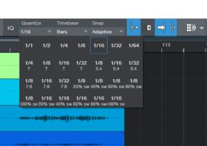 Studio one - Snap - Quantize